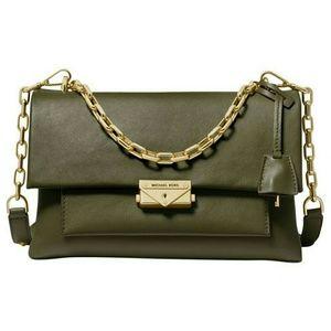 Michael Kors Cece Large Olive Leather Shoulder Bag